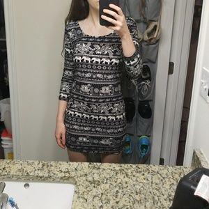 Long sleeve black elephant dress